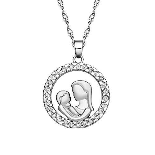 N-K PULABO - Collares de calidad premium, regalo para el día de la madre, círculo hueco, colgante de mamá y bebé, cadena de circón, joyería delicada