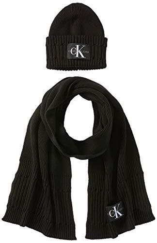 Calvin Klein Damen BEANIE + SCARF Winter-Zubehr-Set, Schwarz, Einheitsgröße