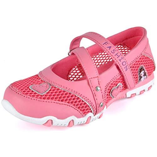 DimaiGlobal Kinder Mädchen Sandalen Geschlossen Mesh Schuhe Atmungsaktiv Prinzessin Flach Kinderschuhe Frühling Sommer Knöchelriemchen Leder Ballerinas Schuhe 30EU Rose