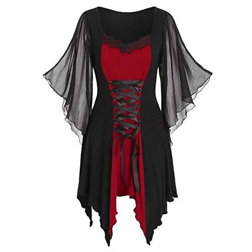 Aiserkly Gothic Corsagenkleid Korsett Renaissance Kostüm Mittelalter Halloween Party Kostüm für Cosplay Karneval Fasching Rot XL