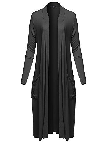 Long Sleeve Side Pockets Midi Length Open Front Cardigan Black S