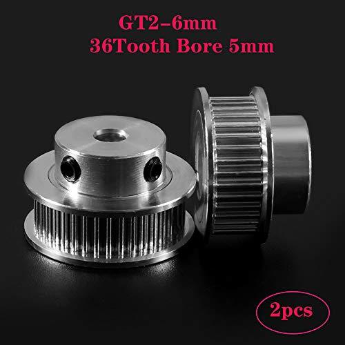 PoPprint GT2-6mm Zahnriemen Aluminium Riemenscheibe für Breite 6 mm GT2 Riemen (2 Stück) (36Zähne Bohrung 5 mm)