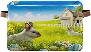 Doshine Panier de rangement pliable avec poignées pour lapin de Pâques, œufs, fleurs, marguerites, grand panier de rangeme...