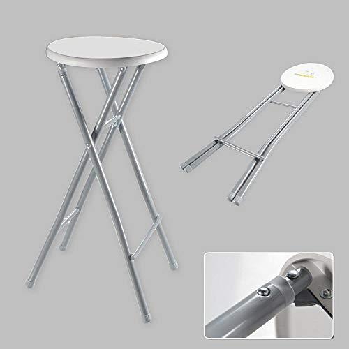 Northam Barhocker XL Hocker Klapphocker Klappstuhl Stuhl Hoch Faltbar Metall Weiß Grau