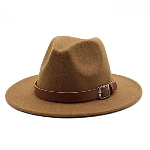 MLOPPTE Sombrero,Sombreros de Mujer de ala Ancha de Color sólido con Banda Hebilla de cinturón Sombreros Fedora Gorras de Jazz Hombres Mujeres Sombreros de Fieltro Formales Simples clásicos
