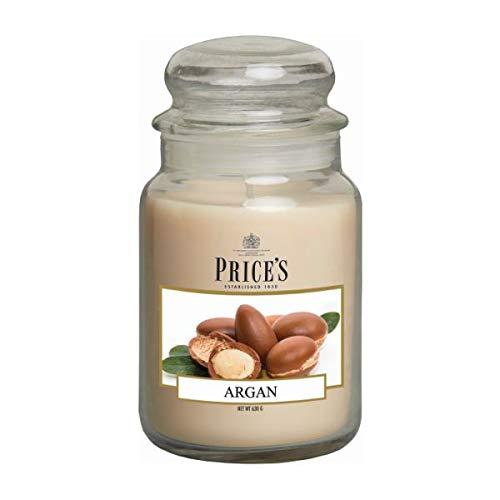 Price's Candles - Candela profumata in Vaso Vetro Grande con Coperchio in Vetro, Argan