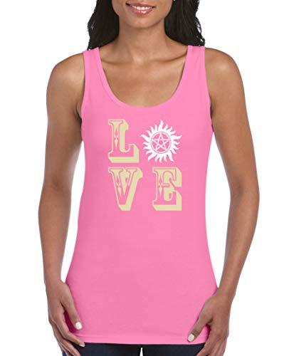 Comedy Shirts - Love - Pentagramm - Damen Tank Top - Pink/Beige-Weiss Gr. L
