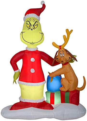 Gemmy 6' Airblown Grinch and Max w/Presents Scene Christmas Inflatable
