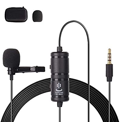 Thlevel Lavalier Lapel Microphone Clip On Professional Omnidirectional Condenser 6M Cable 3.5mm for Smartphones or Mobile Device