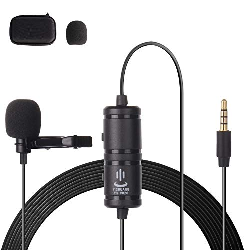 Thlevel Lavalier Mikrofon Clip Omnidirectional Kondensator Lapel Mic mit Einfacher Clip on System Mini Mikrofon für Telefone Aufnahme Videoanrufe