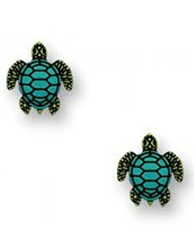 Green Sea Turtle with Blue Shell Post Earrings Made in USA by Sienna Sky 1728