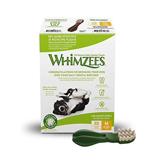 WHIMZEES Natürliche Getreidefreie Zahnpflegesnacks, Kaustangen für Hunde, Monats-Packung, Zahnbürste, Gr. M, 30 Stück