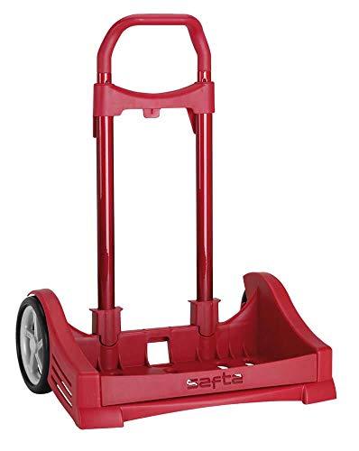 Safta Carro Evolution para Mochilas Escolares Plegable Ligero Resistente Diseño Único 400 x 280 x 850 mm, Rojo, 85 cm