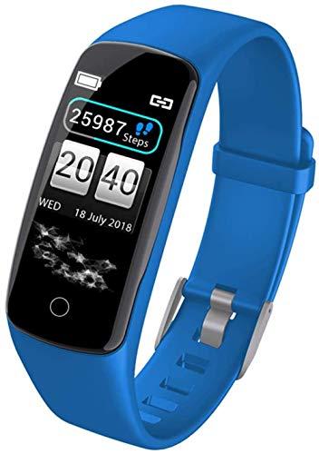 Pulsera Deportiva Inteligente Hombres Mujeres Reloj Inteligente Impermeable Fitness Tracker Ritmo Cardíaco y Monitoreo de Presión Arterial Podómetro-Azul