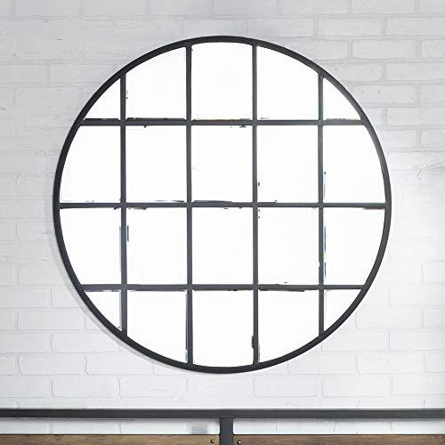 Walker Edison Furniture Company Modern Farmhouse Round Circle Grid Wall Mirror, 40