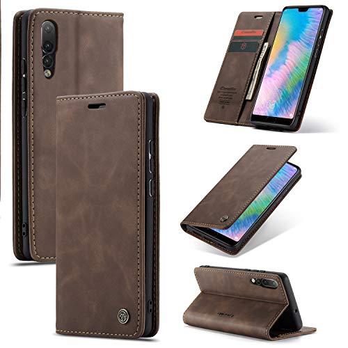 For Huawei P20 caja del teléfono móvil pro magnética, PU cubierta de la tapa de cuero ultra-delgada caja del teléfono móvil [[Soporte] ranura de la tarjeta, [carga inalámbrica] compatibles con Huawei