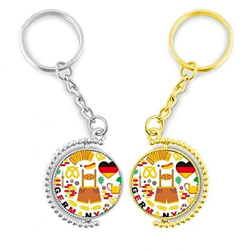 DIYthinker La Douane Historische Flagge Deutschlands, Ring aus vergoldetem Metall, Tür – Schlüssel