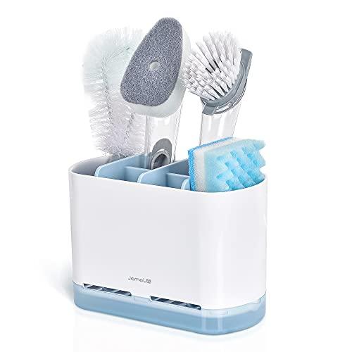 JOMOLA Organizador para fregadero de cocina, soporte para cepillo de esponja para jabones, platos, accesorios para lavavajillas