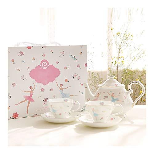 Ballerino di danza classica Ragazze floreale Bone China bicchier e piattino Set tazza di tè tazza di caffè Teiera (Color : White)