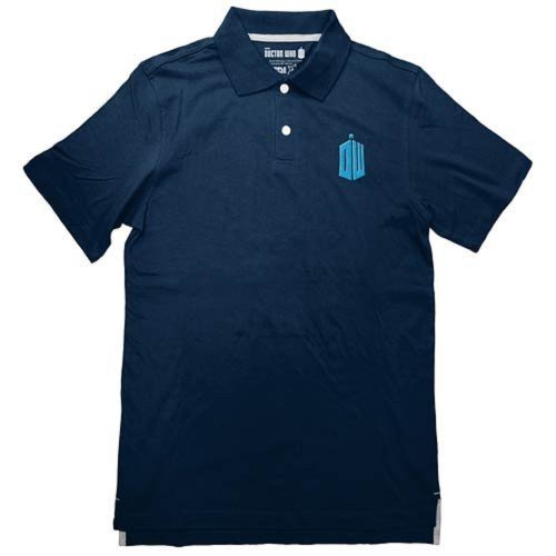 Ripple Junction Doctor Who TARDIS Logo Men's Blue Polo Shirt, Small