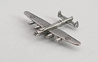 Solid Pewter Avro Lancaster Bomber Plane Pin Badge