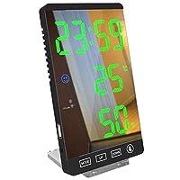 クリエイティブデジタル時計、多機能ツェッペリンミラー温度計と湿度計電子天気デジタル目覚まし時計、デスクトップデコレーション/ホームキッチンリビングルームに適し (Color : C)