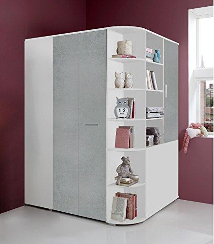 lifestyle4living Eckkleiderschrank, begehbar,Beton-Grau, Alpin-Weiß | Eckschrank mit Falttür, Drehtür, Kleiderstange, Kleiderhaken, Einlegeböden