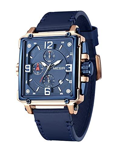 Reloj cronógrafo Deportivo para Hombre MEGIR, Correa de Cuero Azul para Hombre, Esfera Rectangular, Reloj clásico Retro Resistente al Agua
