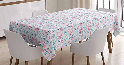 Elvoes Baby Tablecloth, Milk Bottles Pacifiers Rattles Pattern Hand Drawn Baby Toys Themed Ornate Image, Dining Room Kitchen Rectangular Table Cover,White Pink