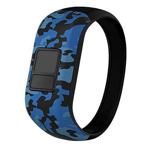iBREK for Garmin Vivofit jr/jr 2/3 Bands, Silicone Stretchy Replacement Watch Bands for Kids Boys Girls Small Large(No Tracker)-Small,Blue Camo