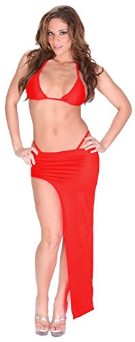 Sexy Exotic Dance Club Stretch Lycra Spandex Bikini and Asymmetrical Full Length Skirt Set for Women 7X (26-28) Red