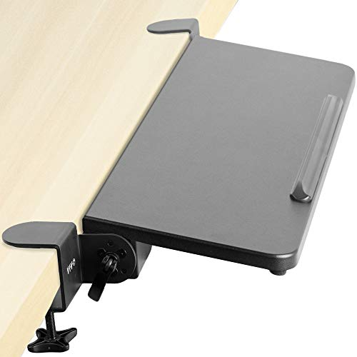 VIVO Clamp On Tilting Keyboard Tray, 26 (31 Including Clamps) x 9 inch Extension Platform for Typing and Mouse Work, Elbow and Arm Support Rest, Black, MOUNT-KB06H