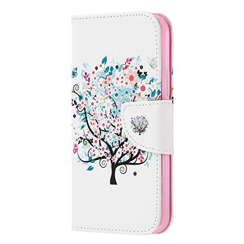 Fundas iPhone 11 Pro MAX Tapa de Falsa Piel Árbol de la Flor, Fundas iPhone 11 Pro MAX Libro Iman con Tarjetero, Funda Impreso para iPhone 11 Pro MAX 6.5 Pulgada Antigolpes Mujer