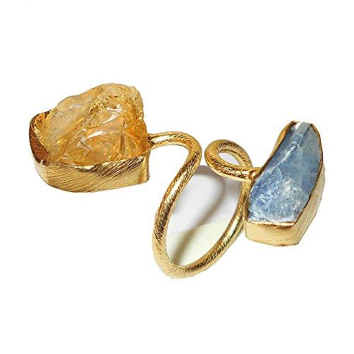 Bhagat Jewels Anillo de bypass con piedras preciosas de cianita real y citrino azul para regalos de boda únicos