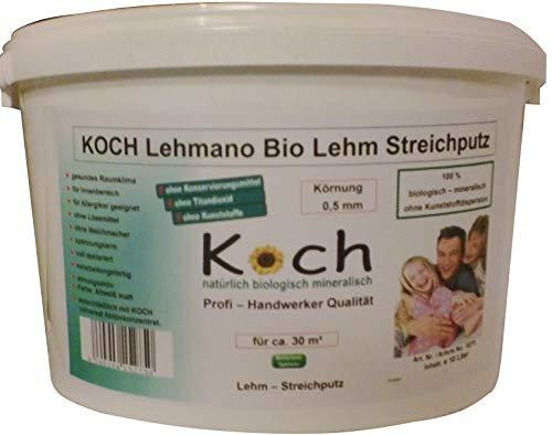 Koch Lehmano Lehm Streichputz 10 Ltr. Lehmstreichputz putz von der Rolle Lehmputz Lehmdekoputz Putz Lehmrollputz (Körnung 0,5 mm)