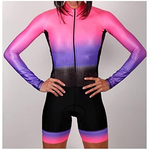 Frauen Radfahren Jersey Triathlon Langarm Radfahren Jersey Skinsuit Fahrrad Kleidung Overall (Color : 5, Size : XS)
