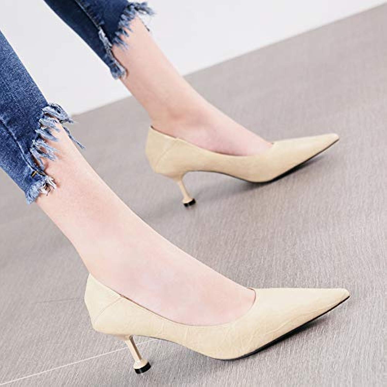 HRCxue Pumps Spitze flachen Mund schwarz vielseitig High Heels Heels Heels einzelne Schuhe weibliche einfache Mode Katze Schuhe Stiletto Vier Jahreszeiten Schuhe fc1