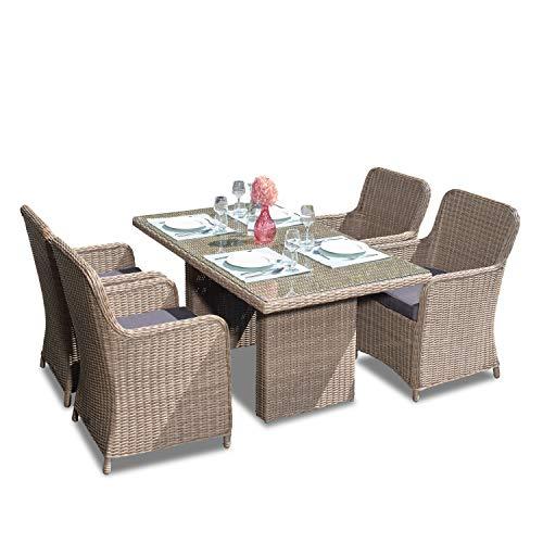 Green Spirit - 9-TLG. Garten-Sitzgruppe/Rattan-Garnitur 'Ria' - Braun, Poly-Rattan, Sicherheitsglas, Wetterfest - Garten-Möbel Set/Terrassen-Möbel