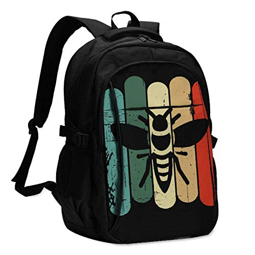 XCNGG Bee Retro Unisex Travel Laptop Backpack with USB Charging Port School Anti-Theft Bag