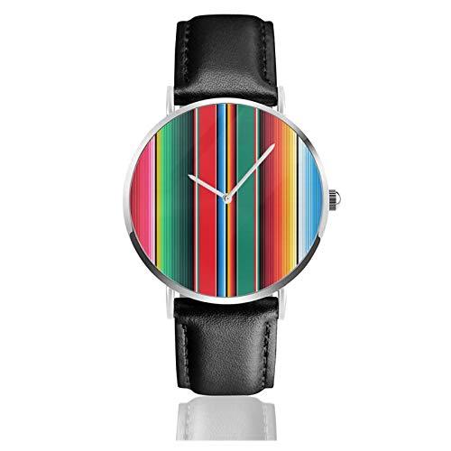 Reloj de cuero con diseño de alfombra mexicana de Serape Stripes The Arts Unisex Classic Casual Fashion Reloj de cuarzo de acero inoxidable con correa de cuero