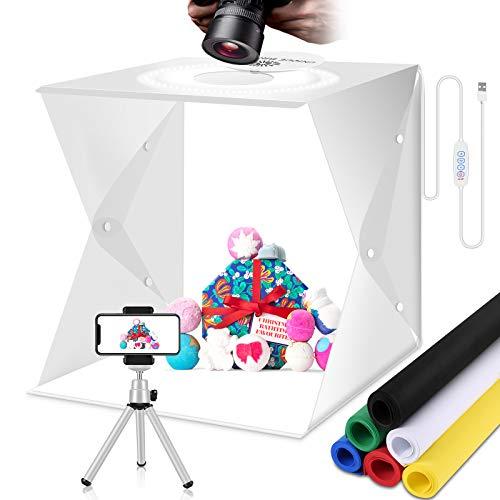 Fotografico Studio Box Kit Fotografia Led Light Set Portatile Photo Cubo Gioielli Lightbox Accessori Photography con 3 modalità di luce Illuminazione,6 Colore Sfond & Mini Treppiede(40x40cm)