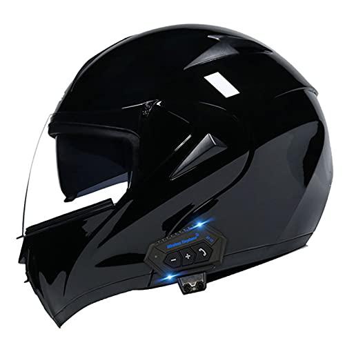 Cascos Bluetooth para motocicleta, casco modular integrado con Bluetooth, casco de motocicleta de cara completa, doble visera modular Bluetooth, casco aprobado por DOT/ECE 3, L = (57 ~ 58 cm)