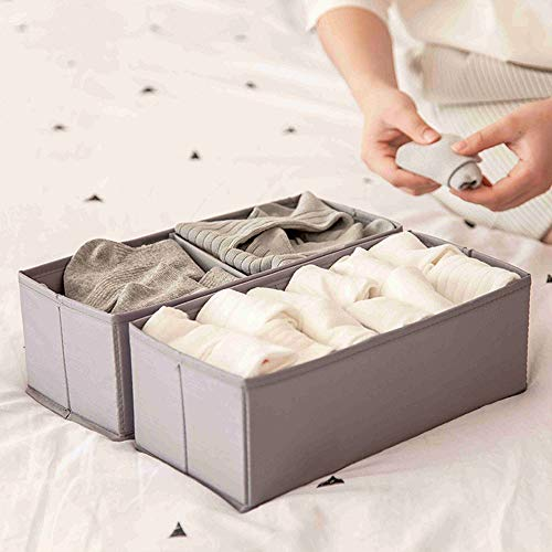 AooYo 収納ボックス 2段 引き出し収納用 折り畳み 布 2個セット 引き出し仕切り おしゃれ 小物 靴下 ネクタイ収納 小物入れ 卓上 洗濯可能 28x13x10cm 灰色