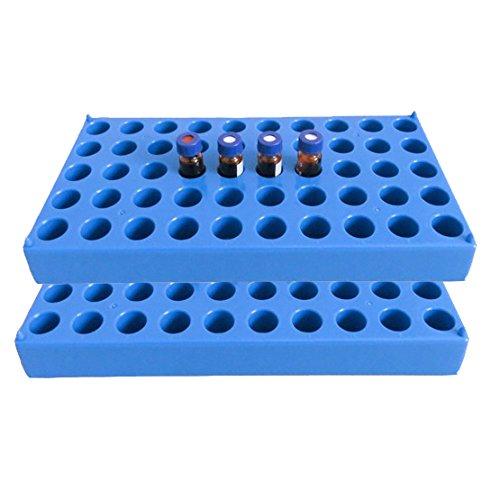 (2 paquetes) Vial Rack, color azul para 50 viales estándar de 12 mm, 2 ml, tubo apilable Centrifuge Tubes Rack