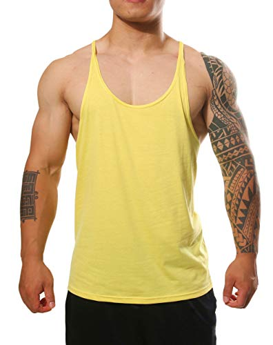 Manstore Men's Blsnk Stringer Y Back Cotton Sport Tank Top P729 Yellow XL