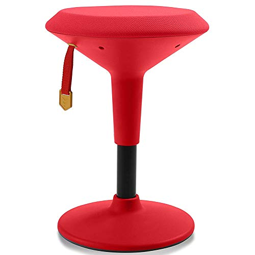 Adjustable Wobble Chair for Kids - Ergonomic Wobble Stool to Encourage Right Posture, Balance & Strengthen Core - School Classroom - Active Kid ADHD Fidget Seat (Red Fabric - Red Frame)