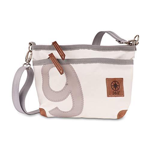 360° Bolsa de lona con diseño de ciervo, color blanco y gris, con número gris, correa gris