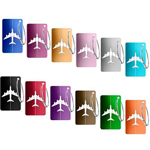 12 Stück Kofferanhänger Koffer,PAMIYO Aluminium Gepäckanhänger Kofferanhänger mit Flugzeug Gepäckanhänger aus Metall-(Verschiedene Farben)