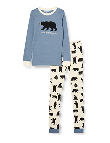 Hatley Bear Family Pajamas Juego, Conjunto de Pijama de Manga Larga para niños-Oso Negro sobre Azul-Bearly Sleeping, 8 años Unisex Adulto