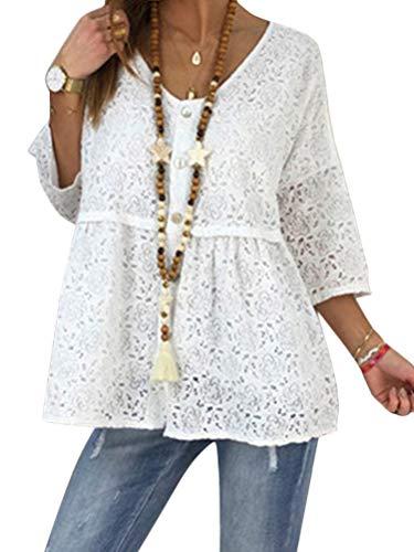 Shallood Camicette Pizzo Donna Magliette con Scollo a V Slim Fit Casual Bottone Camicia Manica 3/4 T-Shirt Tops Blusa A Bianco IT 52